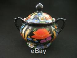 Vintage China Demitasse Ditmar Urbach Coffee Set Black Floral Tchécoslovaquie