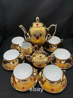 Vintage Coffee Tea Set Flores Bavaria Pour 6, Pure Gold With Gems, 15 Articles