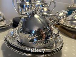 Vintage Coffee / Tea Silver Bavaria Ensemble De 23 Pièces