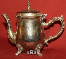 Vintage Décoratifs En Métal Argenté Petit Footed Tea & Coffee Set