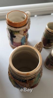 Vintage En Céramique Bière Stein Traditionnelle Tasse De Café Luxembourg Crafted Ensemble De 4