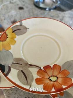 Vintage Floral Susie Cooper Grays Peinture À La Main Soucoupe Tasse À Café 8166 X 3 Ensembles