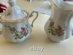 Vintage Floral Walbrzych Rose 11 Pc Set Bone Chine Porcelaine Pologne, Thé, Café