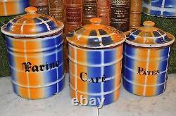 Vintage Français Enamelware Blue Gold Plaid Canisters Set 6 Enamel Plus Cafetière