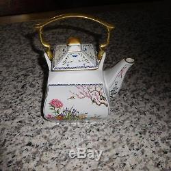 Vintage Franklin Mint Fine Porcelaine À Thé Et À Café Avec Le Sucre Et Creamer