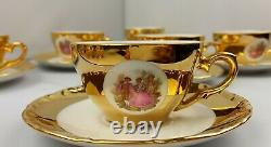 Vintage German Bavaria Gold Plated Fragonard Porcelaine Café/tea Set, 1960's