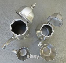 Vintage Gorham Pewter Black Handle Coffee & Tea Pot Wcream Sugar 4 Pc Set Mib