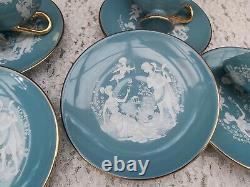 Vintage Hand Made Italy, Ensemble De Thé/café Moulu Florentine Turquoise