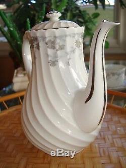Vintage Haviland Limoges Valmont Thé / Café Set, Pot Et 8 Tasses, Garniture Argent