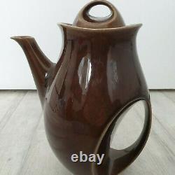 Vintage Holkham Pottery Coffee Set Owl Eyes 6 Tasses De Lait Cruche Théière À Sucre Bol