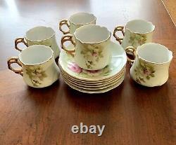 Vintage Lefton Green Heritage Rose Ensemble De 6 Coupe De Thé/café Et Saucer #3067
