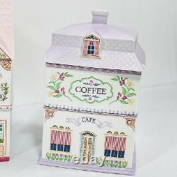 Vintage Lenox Village Canister Set 4 Jars Avec Lids Thé Café Sucre & Farine