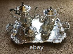 Vintage Leonard Silver Company 5 Pièces De Café Ou De Thé Service Set Assiette En Argent