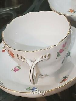 Vintage Meissen Peint À La Main Scattered Fleurs Tasse De Thé Tasse À Café & Soucoupes 7 Sets