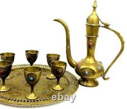 Vintage Moorish Style Laiton Cafe Ewer Set Turquoise & Carnelian Inlaid Stones