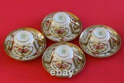 Vintage Noritake Tea/cafee Pot Set Tasses Saucers Roses Roses Or Incrustées