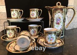 Vintage Occupé Japon Oritake Peint À La Main Jeweled Coffee Chocolate Set