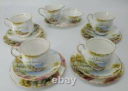 Vintage Paragon Cliffs De Thé Dover Café 15 Pc Set Tasses Plaques Saucers Sucre
