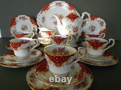 Vintage Paragon Rockingham Rouge 22 Pièces Bone Chine Café / Tea Set
