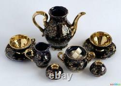 Vintage Porcelaine Set Coffee Pot Creamer Bowl Saucer Cup Gilding Echt Kobal 1968