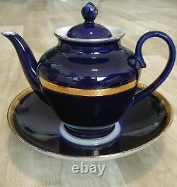 Vintage Porcelaine Tea Coffee Set Urss Soviet Lfz Lomonosov Cobalt Signé