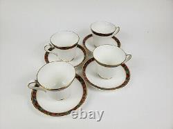 Vintage Ralph Lauren Mclean Coffee/tea Cups & Saucers Ensemble De 4 Monnaie Rare
