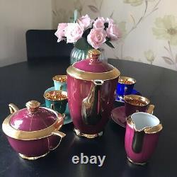 Vintage Rgk Rudolf Kampf Tchèque 11 Piece Coffee Set Multicoloured Cups Gold Inlay