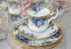Vintage Royal Albert Moonlight Rose 21-piece Coffee Set Inc Cafetière Inutilisée