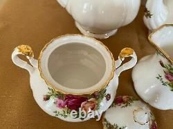 Vintage Royal Albert Old Country Rose Pot À Café / Pot À Thé / Ensemble De Sucre Et Crème