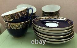 Vintage Russe Lomonosov Lfz Cobalt Bleu Porcelaine Or Serti De Thé À Café