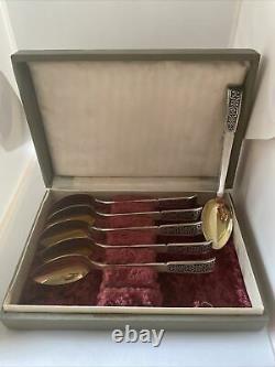 Vintage Russe Soviétique Sterling Argent 916 Gilded Thé Cuillères À Café Set 6 Boîte