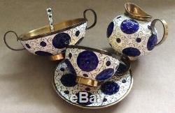 Vintage Russe Urss Gilt En Argent Sterling 916 Cloisonné Set Café