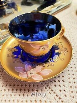 Vintage Set De Café Murano, Vénitien 24k Peint À La Main En Verre Bleu Émail