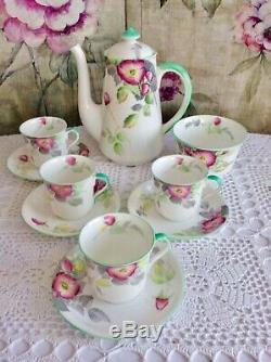 Vintage Shelley Bone China 4 Personne Café Set Wild Rose Floral 10 Pc C1932