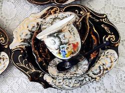 Vintage Thé / Café Fixé Thun M. Z 24 Ct Or Avec Cobalt Tchèque Porcelaine