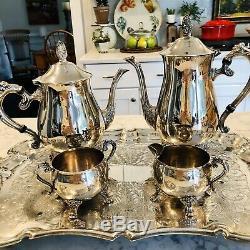 Vintage Thé / Café Set Ep Brass '' / Plaqué Argent Sur Laiton / Kent Plateau