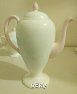 Vintage Wedgwood Années 1930 Art Déco Café Set Blanc Et Rose Louise Powell Conception