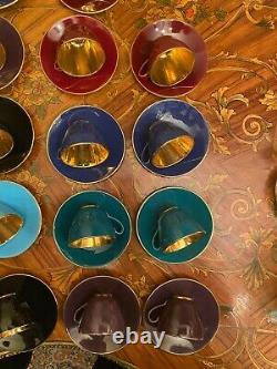Vtg 18 Tasses 18 Saucers Royal Copenhagen Aluminia Faience Confitti Cafe Set