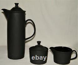 Vtg 1960's Wedgwood Basalt Black Minkin Cafee Potsugarcreamer Set 5pc Tous Ex
