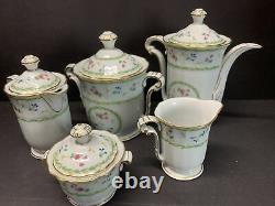 Vtg Bernardaud Limoges Artois Vert Versailles Forme Coffee & Tea Pot Ensemble De 5