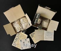 Vtg Boxed 2 Sets Verres À Café Et Thé Porte-billets Argentés Sheffield Porciani Italie