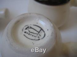 Vtg MID Century Moderne Demitasse Coffee Set Espresso Poignée De Bâton Scandinave