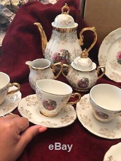 Vtg Porcelaine Café Set D'or Victorienne Couple Sterling Chine Japon 23 Pc De Nice
