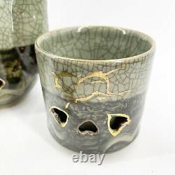 Vtg Rare Somayaki Soma Ware Green Crackle Horse Heart Café Thé Pot 4 Tasses Set