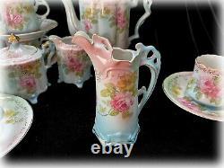 Vtg Repro R S Prusse Coffee Tea Set Rpu12 Porcelaine Fleurs Roses & Or 18 Pc